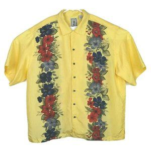 Mens100% Silk Yellow Floral Hawaiian Shirt